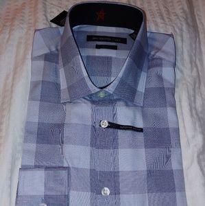 John Varvatos Mens Dress Shirt Sz 15.5 32-33 Blue